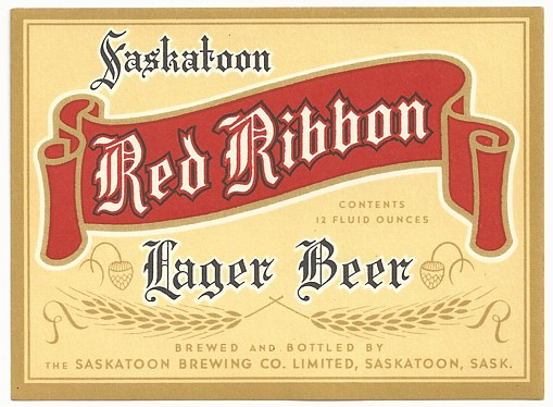 vintage red ribbon beer label saskatoon canada tough vintage red ...